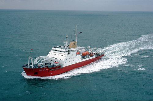James Clark Ross Research ship at sea