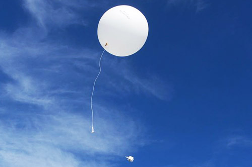 Radiosones attached to helium balloon